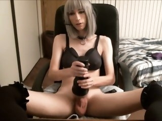Hot Silver Haired Tranny Masturbates With Her Fleshlight babe amateur