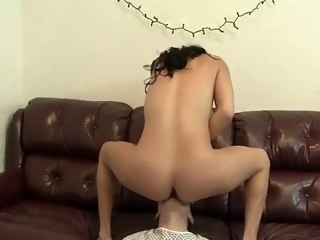Busty Shemale Cums in His Mouth blowjob big tits