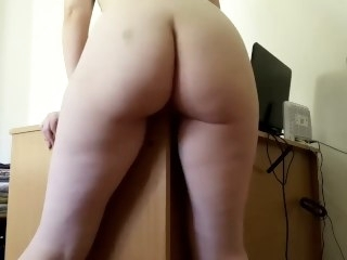 Little Redhead rubs against a desk and cums hard masturbation amateur