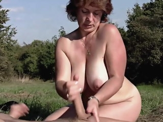 Brunette BBW-Milf Outdoors hard by Young Guy mature bbw