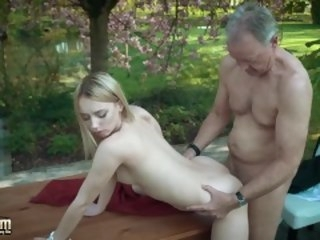 Young blonde moaning fucking an age-old man she swallows his cumshot blowjob blonde