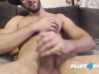 Bearded Bro Strokes His Whole Cock Until it Blows gay solo male