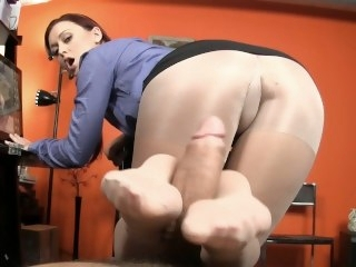 Secretary Keeps Her Job By Giving Boss A Footjob pov big dick