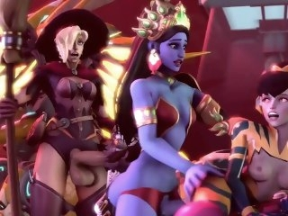 [BlackJrXIII] Overwatch Halloween Clemency x Widowmaker x Symmetra x D.Va blonde big dick