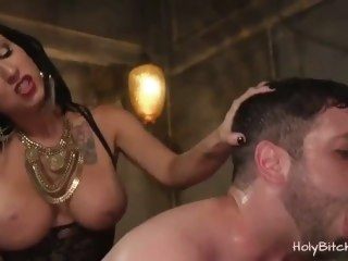 Mistress Lily Lane pegs guy in bi trio big dick big ass