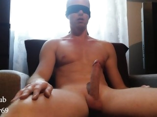 Young sexy guy masturbating with the addition of cumming aloft the armchair big dick amateur