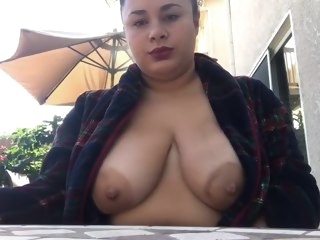 Smoking hot BBW big tits public
