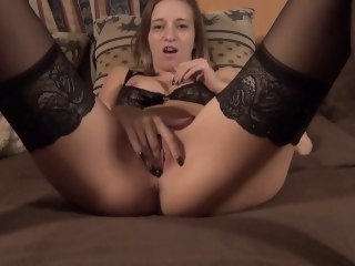 louring stocking footjob cumshot blonde
