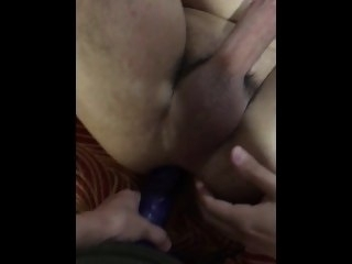 Stretching bearded stud's virgin nuisance with huge strapon! 1st time pegging! gay big dick
