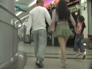 Brunette wife is filmed be required of an upskirt dusting spy cam public