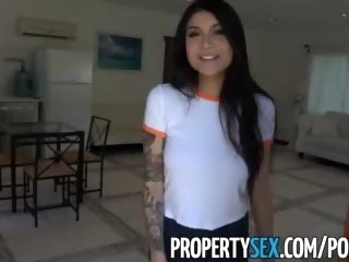 PropertySex - Hot Asian tenant with big tits fucks her landlord hardcore asian