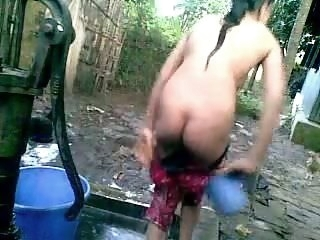 Bangla desi disrespectful village cousin-Nupur bathing outdoor hidden camera amateur
