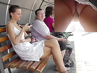 Girl caught on overhear camera in the free upskirt video street candid upskirt