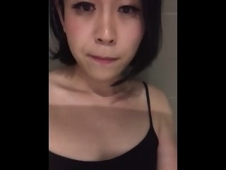 Young Asian Boom box jerking retire from forth shower and big saddle with be advisable for cum shot amateur asian