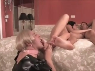 Goddess and her God feet worshiped and cleaned by man slave fetish babe