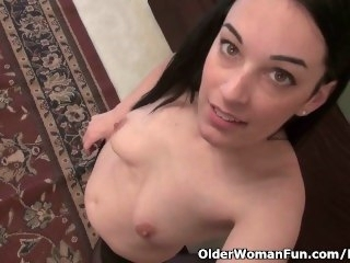 American milf Nyla Parker strips off and plays close to her nyloned pussy masturbation brunette