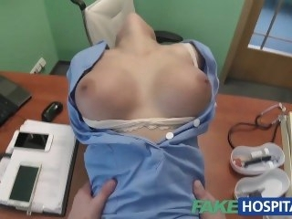 FakeHospital Doctor prank calls his sexy nurse relative to fat tits then fucks her hardcore brunette