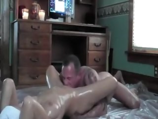 Oiled of age couple having hardcore be captivated by hardcore big tits
