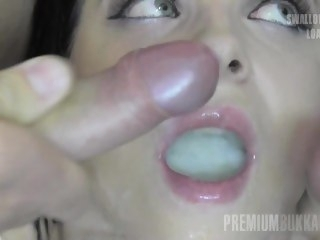 Premium Bukkake - Elya swallows 51 huge nip cum loads big tits amateur