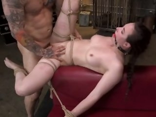 Hot Body Casey Calvert Restrained and Fucked in Destructive Rope Bondage kink dungeonsex
