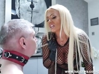 Mistress Lucy Zara whips and ruins her ancient slave in last thraldom session blonde lucyzara