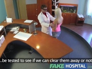 FakeHospital Perfect sexy blonde gets probed and squirts doctors reception pornstar babe
