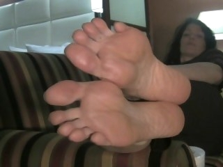 Chunky Feet Tapestry off Couch brunette amateur