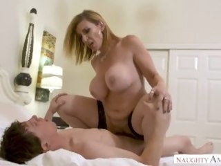 MILF Sara Jay punishes her son's friend yon her pussy! boobs ass