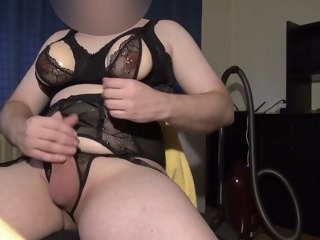 Skit boobs E-Cup in openly lingerie, masturbating a little bit. strip cock-stroking