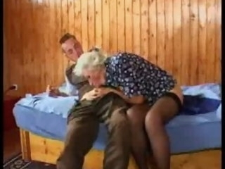 Busty German Granny fucks young Guy tits mature