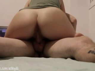 Intense ride on cock! W/ Creampie - Amateur couple babe amateur