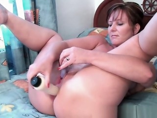 Classy granny plays with her dildo collection mature straight