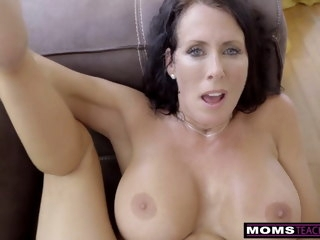 MomsTeachSex - Step Mom Added to Son Cum Together S9:E1 brunette blowjob