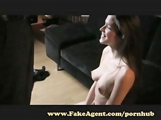 FakeAgent. Brunette with amazing incompetent tits makes me cum. blowjob amateur