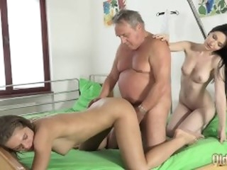 Grandpa at a difficulty doctor fucks hot young nurses in old young threesome porn blowjob oldje-3some