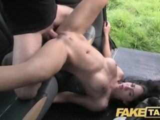 Front Taxi-cub Perfect tits added to a great arse gets the full taxi treatment public faketaxi