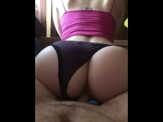 Waking up girlfriend with reverse cowgirl big ass amateur