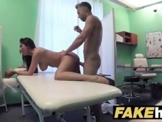 Fake Hospital Tall brunette patient down big na�ve tits swallows docs cum brunette fakehospital
