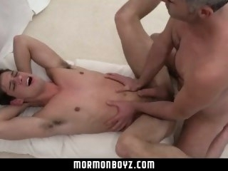 MormonBoyz-Mormon boy spitroasted during ritual threesome daddy bareback