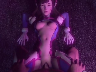 OverWatch D.Va Gets pounded overwrought a huge cock and gets creampied hardcore big tits