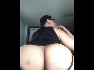 Fat Pain in the neck Rides Dildo and Eats Cum solo male latino